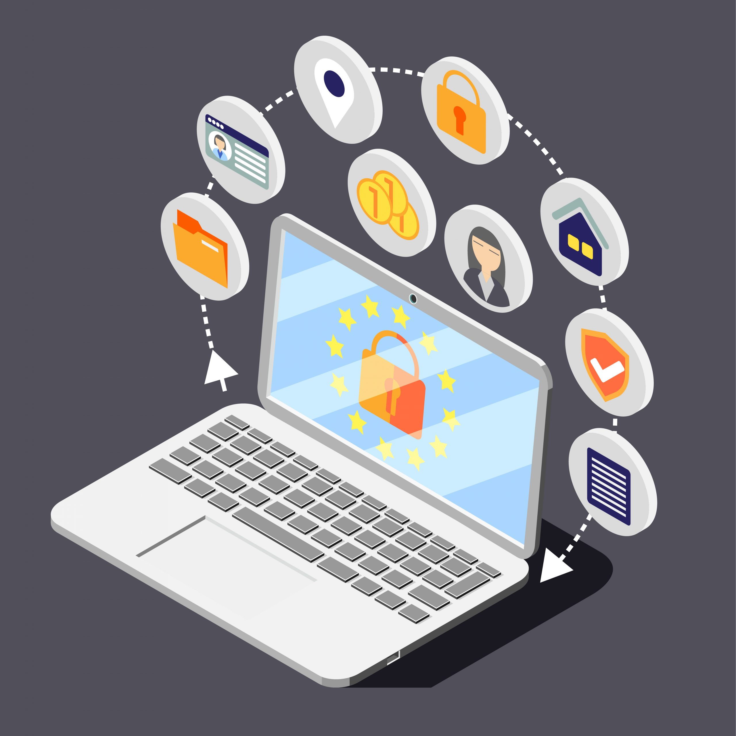 Personal data protection gdpr isometric background composition with image of laptop surrounded by circle pictogram icons vector illustration